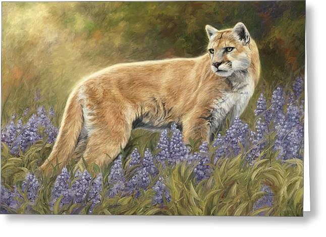 Outdoors Paintings Greeting Cards - Among The Flowers Greeting Card by Lucie Bilodeau