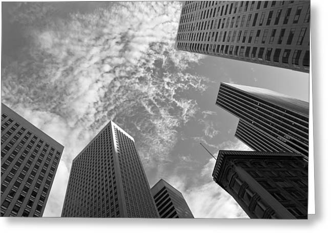 Downtown San Francisco Greeting Cards - Among The Giants BW Greeting Card by Jonathan Nguyen