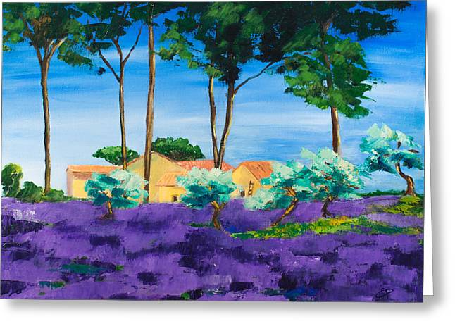 Among The Lavender Greeting Card by Elise Palmigiani