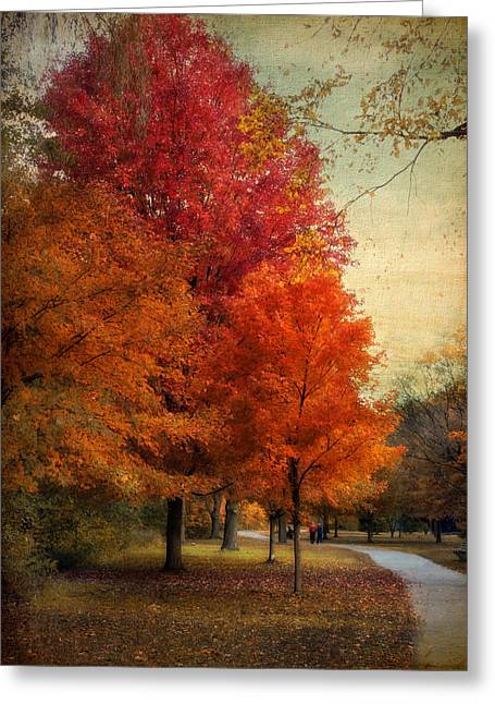 Walkway Digital Greeting Cards - Among the Maples Greeting Card by Jessica Jenney