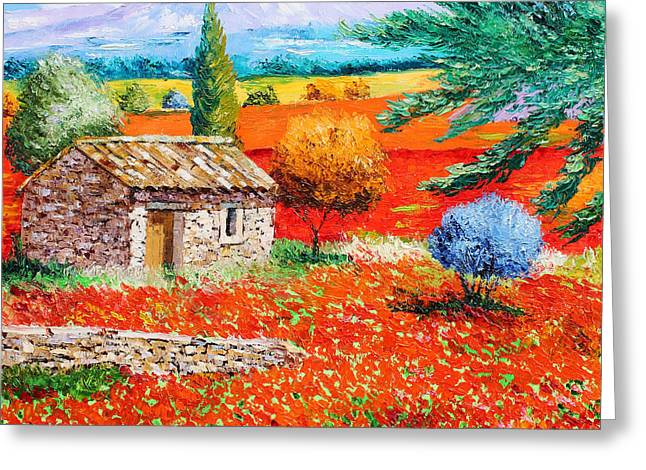 Provence Village Greeting Cards - Among the Poppies Greeting Card by Jean-Marc Janiaczyk