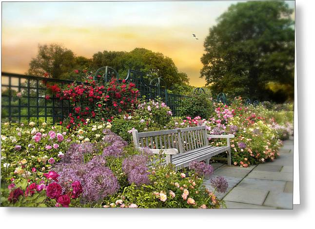 Trellis Greeting Cards - Among the Roses Greeting Card by Jessica Jenney