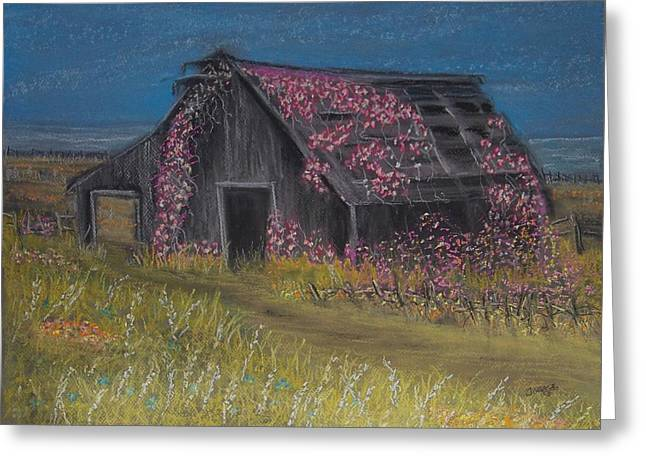 Old Barn Pastels Greeting Cards - Among the Roses Greeting Card by Julie  Grace