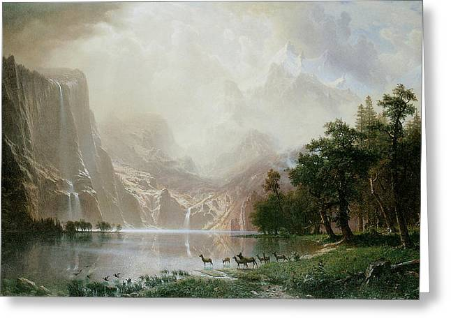 Fine American Art Greeting Cards - Among the Sierra Nevada Mountains California Greeting Card by Albert Bierstadt