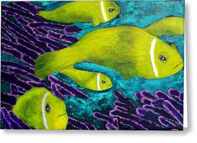 Snorkel Mixed Media Greeting Cards - Amongst The Coral Greeting Card by Ron Kandt