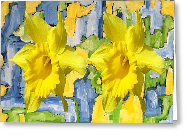 Tablets Greeting Cards - Amongst The Daffodils Greeting Card by Patrick J Murphy