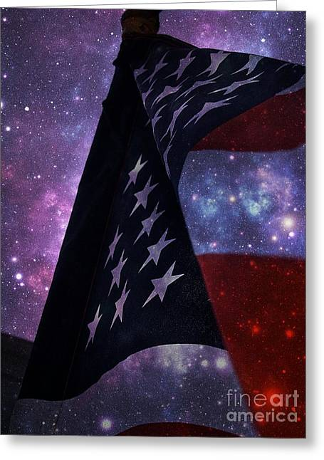 Flag Of Usa Greeting Cards - Amongst The Stars  Greeting Card by Lisa  Telquist