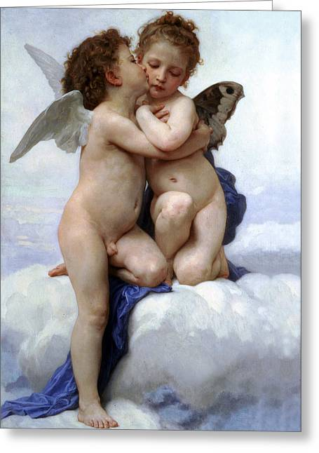 Angel Blues Greeting Cards - Amor and Psyche  Greeting Card by Munir Alawi