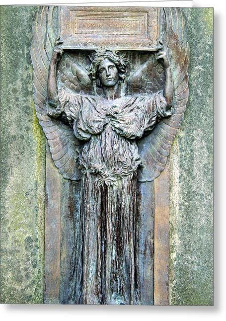 A Cemetery's Amor Caritas Greeting Card by Cora Wandel