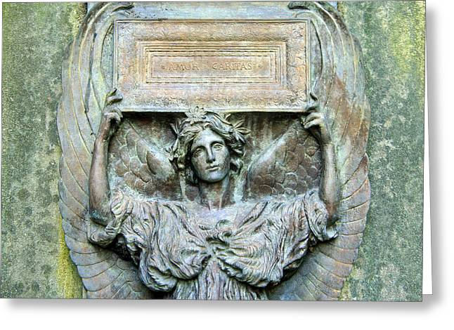 Carita Greeting Cards - A Cemeterys Amor Caritas Up Close Greeting Card by Cora Wandel