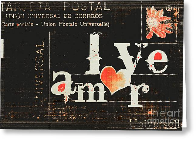 Negro Mixed Media Greeting Cards - Amor - Love Vintage Postcard  Greeting Card by Anahi DeCanio - ArtyZen Studios