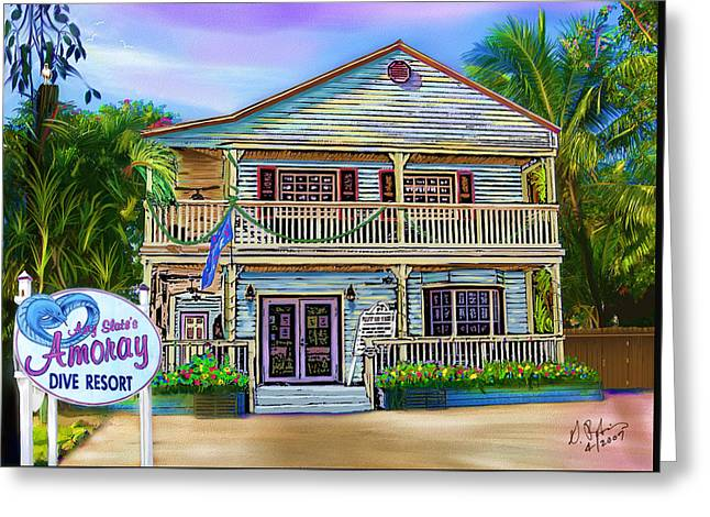 Amoray Dive Resort Greeting Card by Gerry Robins