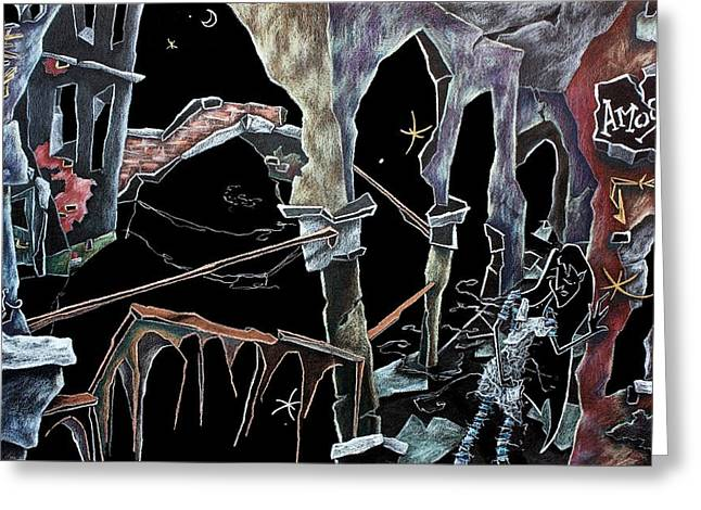 Wallpaper Pastels Greeting Cards - AmoRe - Dark Fantasy Drawings and Illustration - Dibujo Surrealista  Greeting Card by Arte Venezia