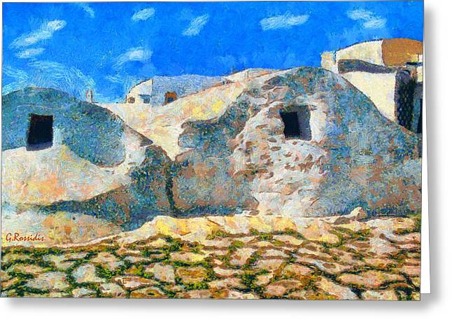 G.rossidis Greeting Cards - Amorgos village Greeting Card by George Rossidis