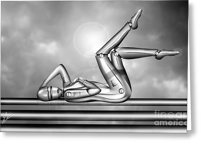 Hottie Greeting Cards - Amorous Android Greeting Card by Linton Hart