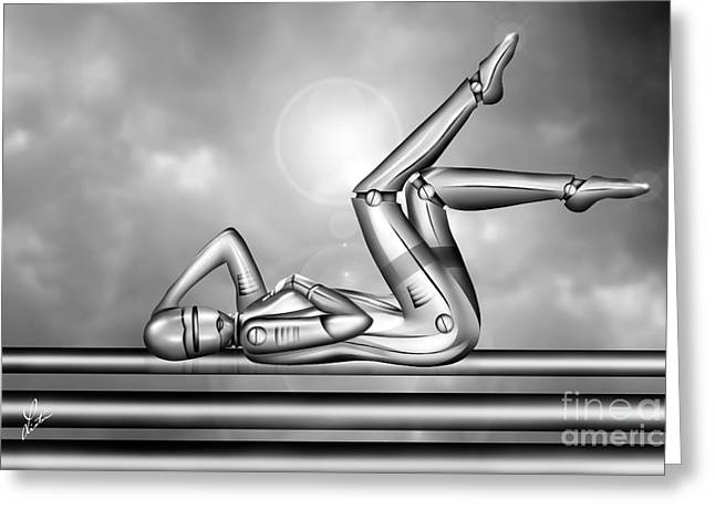 Amorous Android Greeting Card by Linton Hart