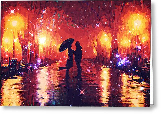 Rain Greeting Cards - Amour Greeting Card by Taylan Soyturk