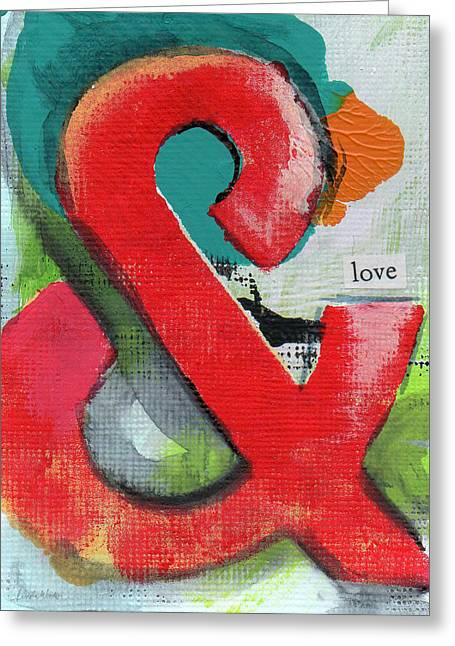Babies Mixed Media Greeting Cards - Ampersand Love Greeting Card by Linda Woods