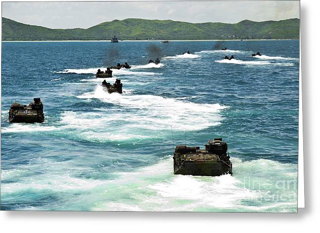 Amphibious Assault Vehicles Approach Greeting Card by Stocktrek Images