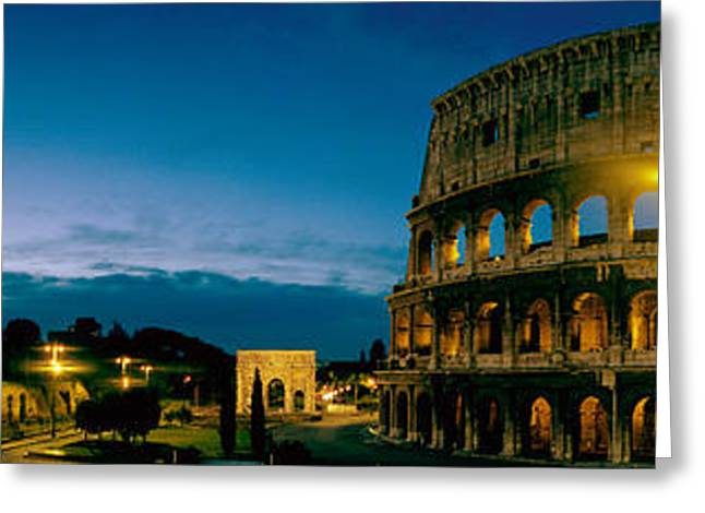 Amphitheater Greeting Cards - Amphitheater At Dusk, Coliseum, Rome Greeting Card by Panoramic Images