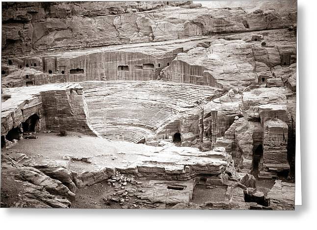 Petra Greeting Cards - Amphitheater in Petra Greeting Card by Alexey Stiop