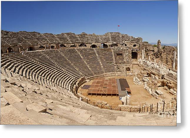 Outdoor Theater Greeting Cards - Amphitheatre in Side Turkey Greeting Card by Sophie McAulay