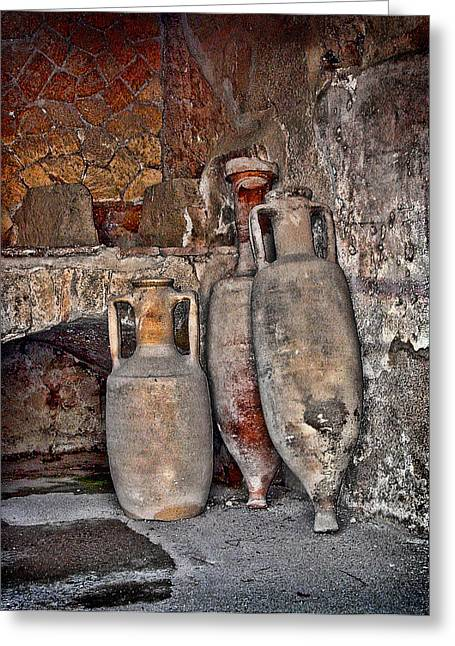 Italian Wine Greeting Cards - Amphora Greeting Card by Heather Applegate