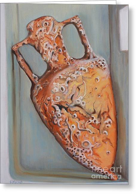 Amphora Greeting Card by Yvonne Ayoub