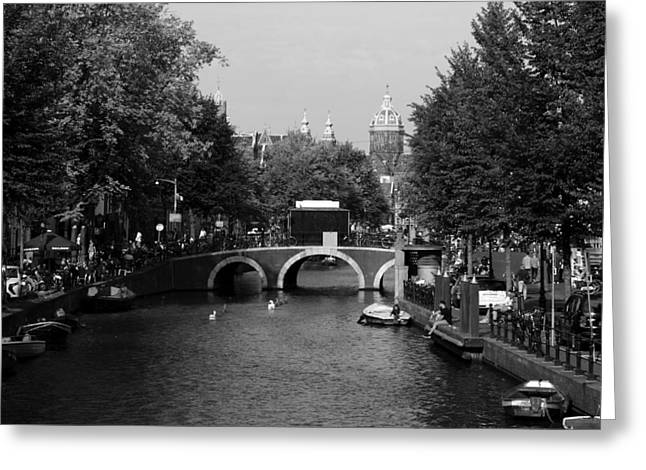 Eating Out Greeting Cards - Amsterdam Greeting Card by Aidan Moran