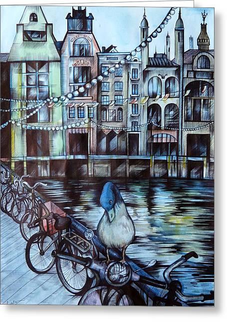 Anna Duyunova Art Greeting Cards - Amsterdam Greeting Card by Anna  Duyunova
