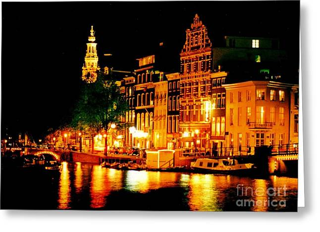Amsterdam at Night Four Greeting Card by John Malone