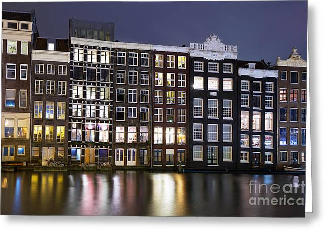 Amsterdam Greeting Cards - Amsterdam at night Greeting Card by Jane Rix