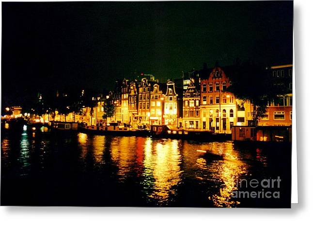 Boats In Reflecting Water Greeting Cards - Amsterdam at Night Three Greeting Card by John Malone