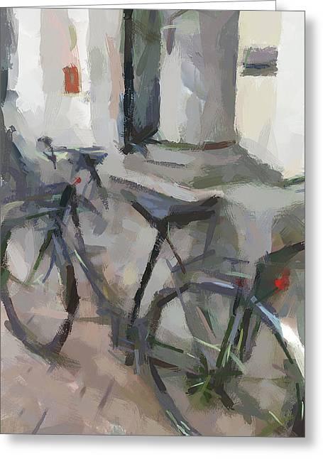 Old Town Digital Art Greeting Cards - Amsterdam Bike Greeting Card by Yury Malkov