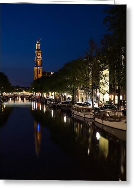 Night Lamp Greeting Cards - Amsterdam Blue Hour Greeting Card by Georgia Mizuleva