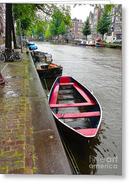Amsterdam Boat - 02 Greeting Card by Gregory Dyer