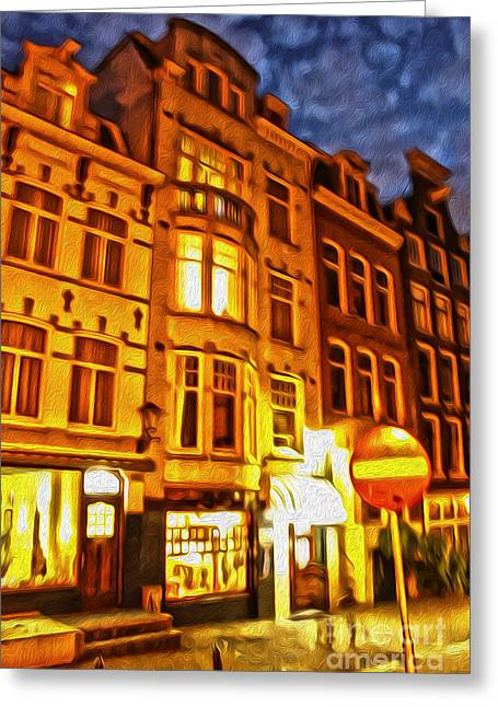 Amsterdam By Night - 01 Greeting Card by Gregory Dyer