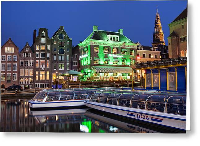 Boat Cruise Greeting Cards - Amsterdam by Night Greeting Card by Artur Bogacki