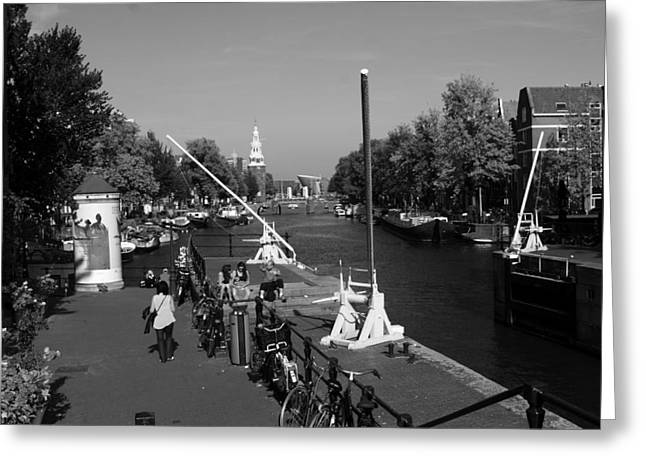 Eating Out Greeting Cards - Amsterdam By The Canal Greeting Card by Aidan Moran
