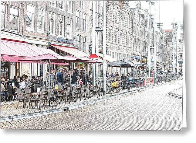 Coffee Drinking Greeting Cards - Amsterdam Cafes Greeting Card by Sergio B