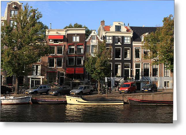 Eating Out Greeting Cards - Amsterdam Canal Greeting Card by Aidan Moran