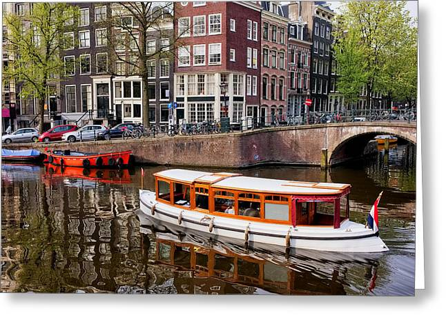 Boat Cruise Greeting Cards - Amsterdam Canal and Houses Greeting Card by Artur Bogacki