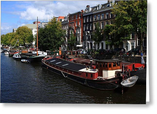 Eating Out Greeting Cards - Amsterdam Canal Boats Greeting Card by Aidan Moran
