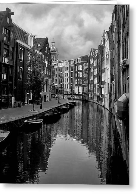 Monochrome Greeting Cards - Amsterdam Canal Greeting Card by Heather Applegate