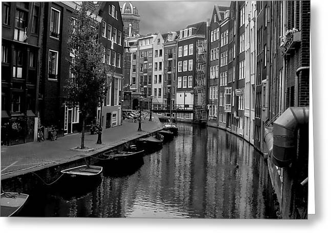 Amsterdam Canal Greeting Card by Heather Applegate