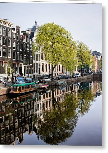 Old Home Place Greeting Cards - Amsterdam Canal in Spring Greeting Card by Artur Bogacki