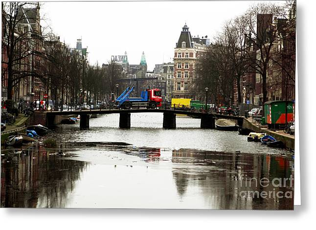 Old City Prints Greeting Cards - Amsterdam Canal Greeting Card by John Rizzuto