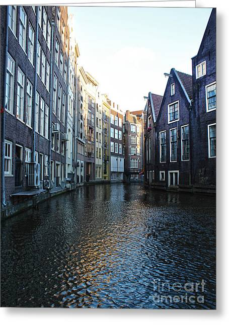 Amsterdam Canal View - 01 Greeting Card by Gregory Dyer