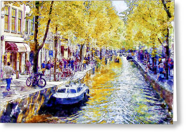 Landscape Posters Mixed Media Greeting Cards - Amsterdam Canal watercolor Greeting Card by Marian Voicu
