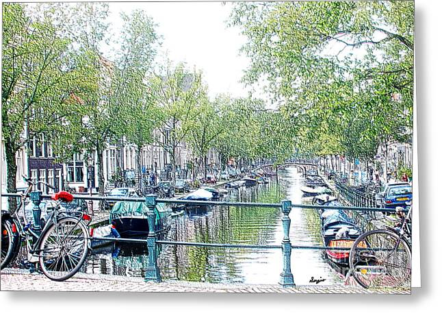 Coffee Drinking Greeting Cards - Amsterdam Canals Greeting Card by Sergio B